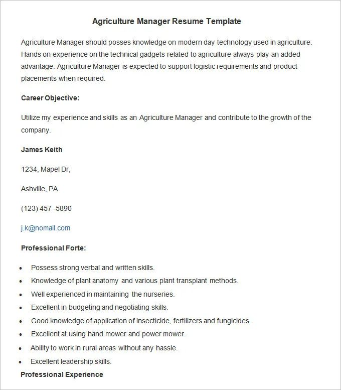 agriculture experience resume examples