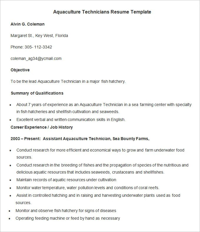 Agriculture Resume Template \u2013 24+ Free Samples, Examples, Format - example or resume