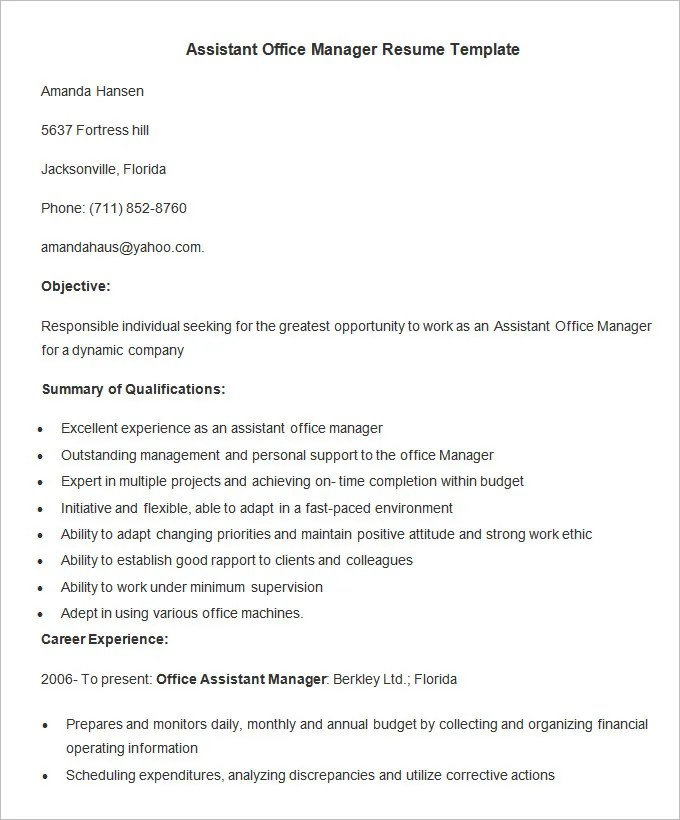 Administration Resume Template u2013 24+ Free Samples, Examples - office manager resume examples