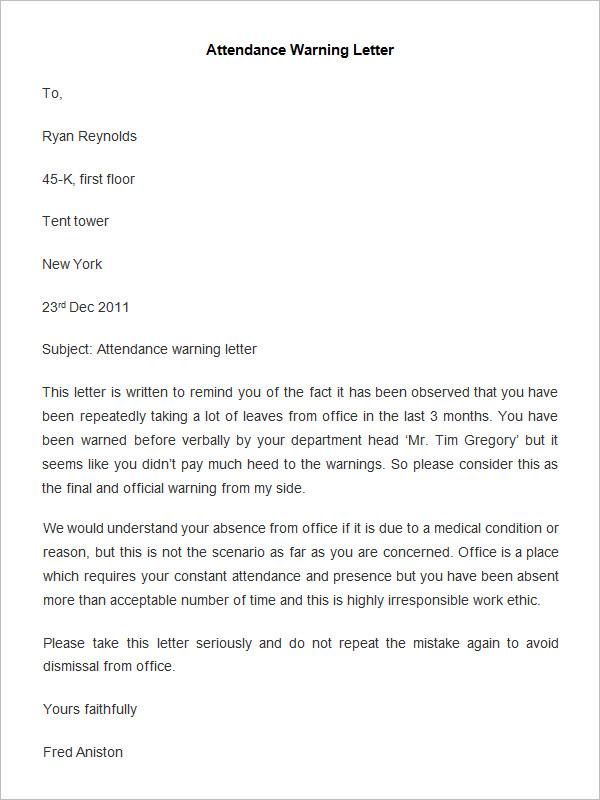 employee warning letter samples