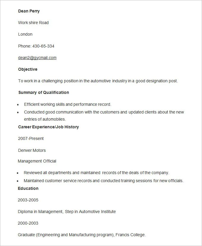 Automobile Resume Templates \u2013 25+ Free Word, PDF Documents Download - resume format for diploma holders