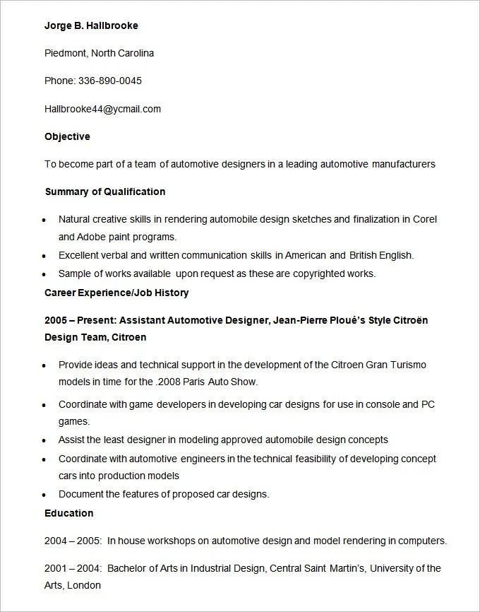 Automobile Resume Templates \u2013 25+ Free Word, PDF Documents Download