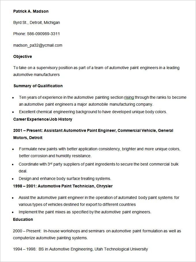 23+ Automobile Resume Templates Free Word, PDF, Doc Formats - vehicle engineer sample resume