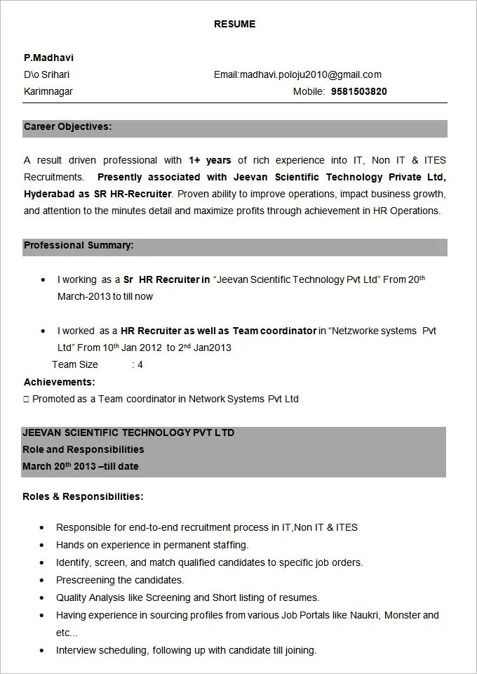 BPO Resume Template u2013 22+ Free Samples, Examples, Format Download - resume sample for experienced