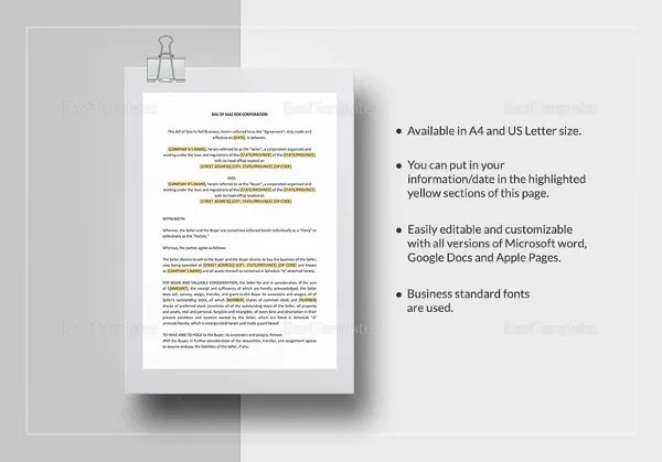 10+ Microsoft Word Bill of Sale Templates Free  Premium Templates - ms word for sale