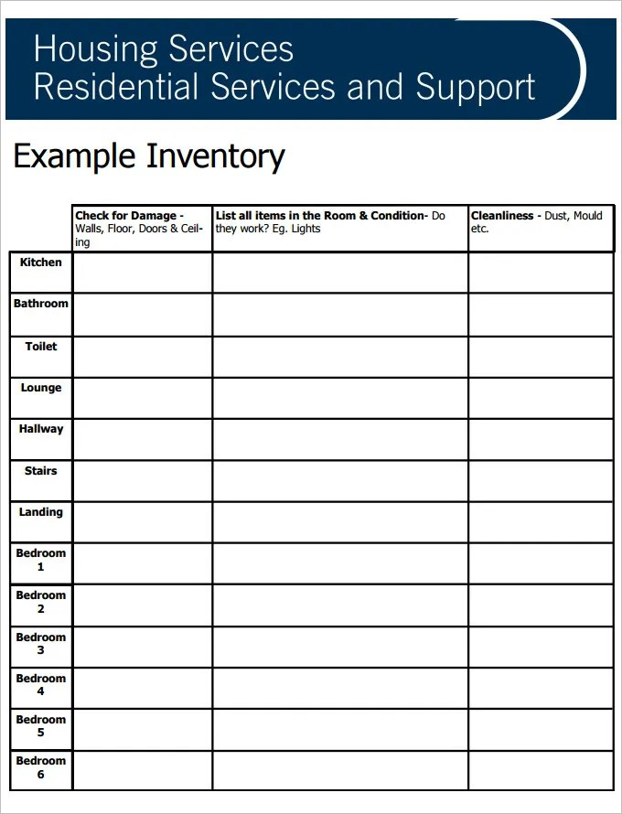 Sample Tenancy Inventory Template - 8 Free PDF Documents Download - free landlord inventory template