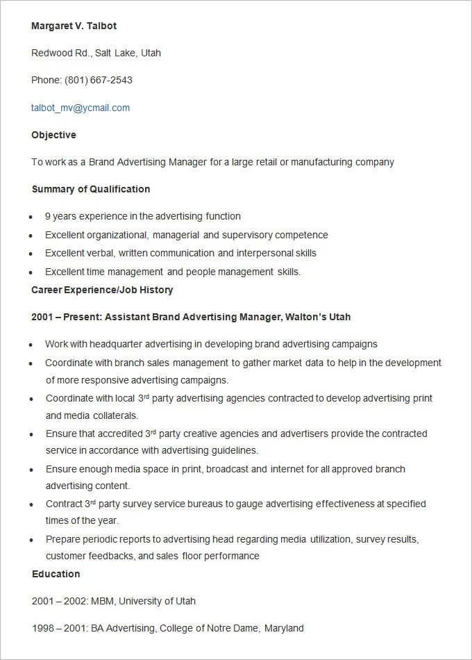 Advertising Resume Template \u2013 16+ Free Samples, Examples, Format