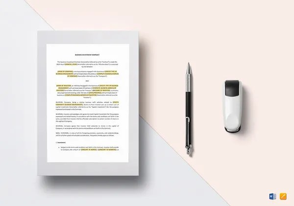11+ Investment Contract Templates \u2013 Free Word, PDF Documents - business investment agreement