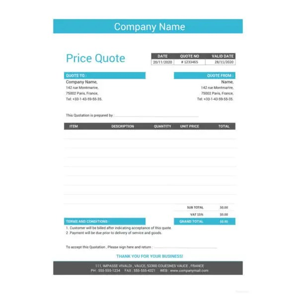 41+ Quotation Templates - PDF, DOC, Excel Free  Premium Templates - standard quotation form