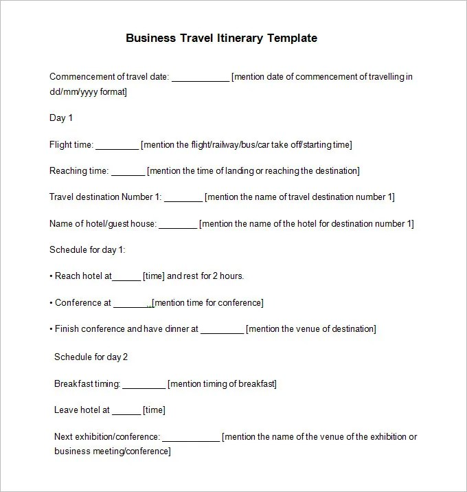 Business Travel Itinerary Template - 8 Free Word, Excel, PDF