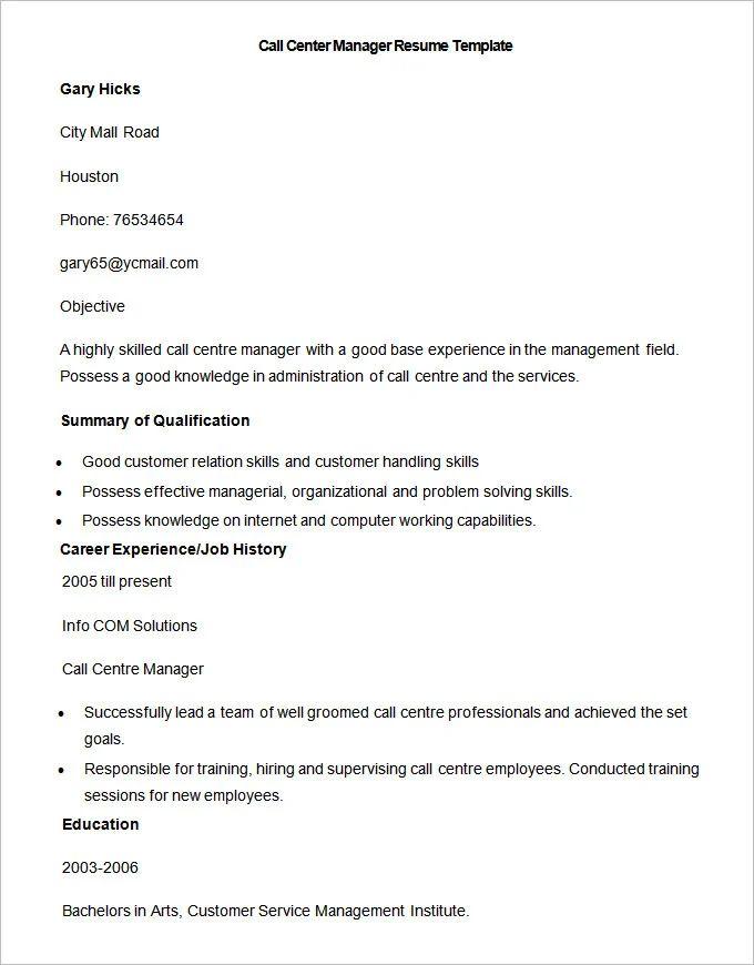 resume format doc for call center job