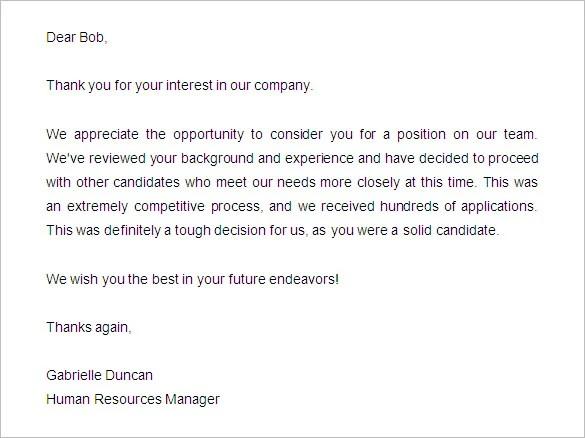 29+ Rejection Letters Template HR Templates Free \ Premium - rejection letter sample