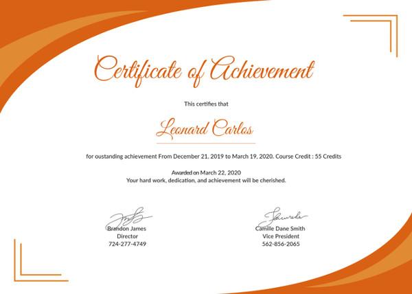 34+ Fabulous Achievement Certificate Templates  Designs Free