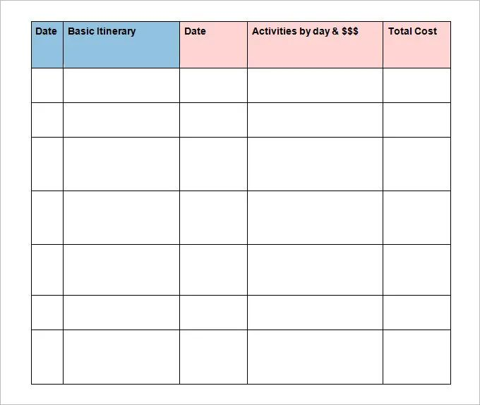travel itinerary template for kids