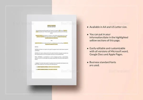Coaching Contract Template - 7+ Free Word, PDF Documents Download - coaching contract templates