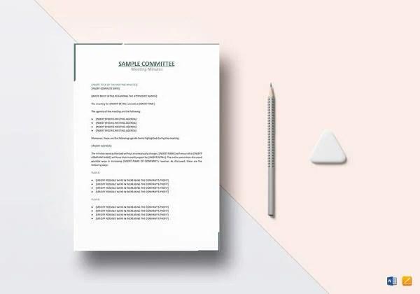 16+ Microsoft Word Minute Templates Free Download Free  Premium