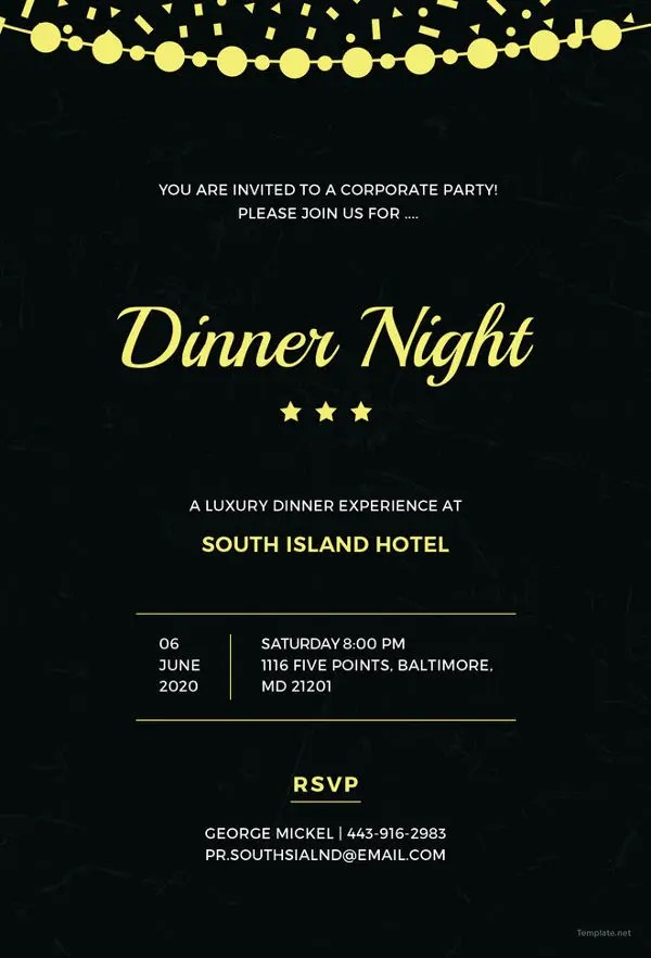 Dinner Invitation Template - 44+ Free PSD, Vector EPS, AI, Format - Corporate Party Invitation Template