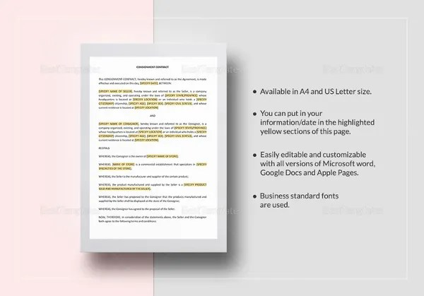Consignment Contract Template - 9+ Word, Google Docs, PDF Documents