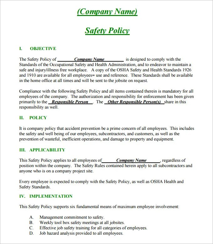 Construction Safety Plan Template - 17+ Free Word, PDF Documents - sample safety manual template