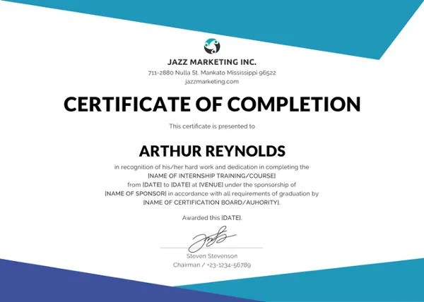 Completion Certificate Templates \u2013 40+ Free Word, PDF, PSD, EPS - certificate of completion sample