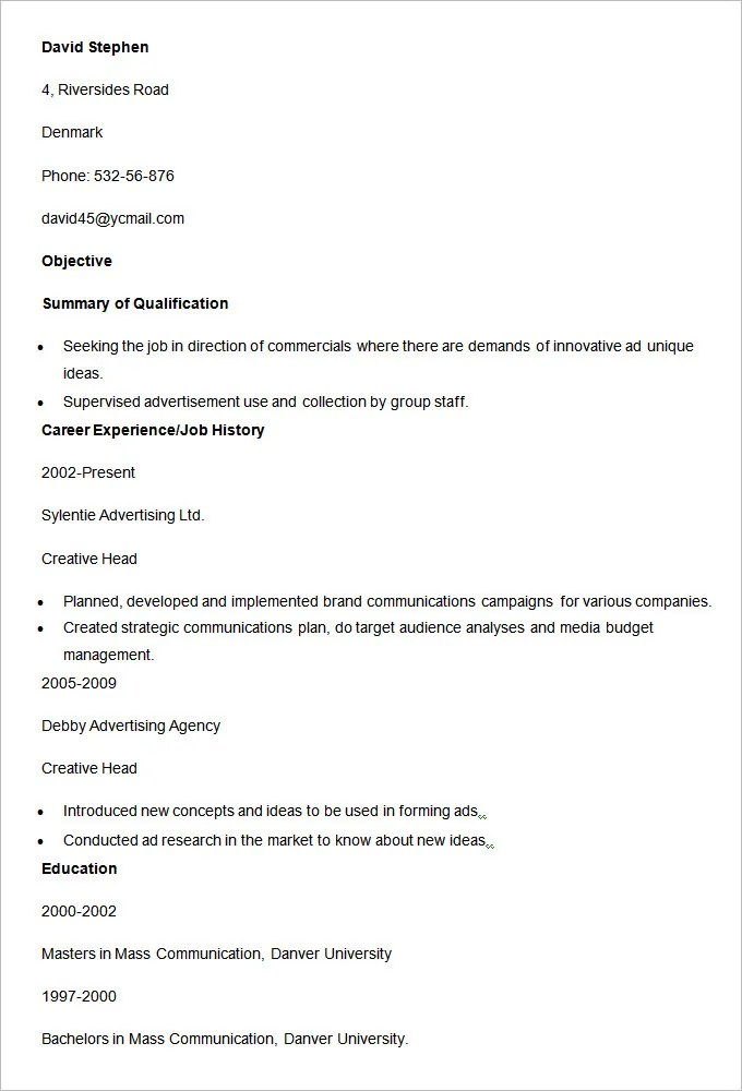 16+ Advertising Resume Templates - PDF, DOC Free  Premium Templates