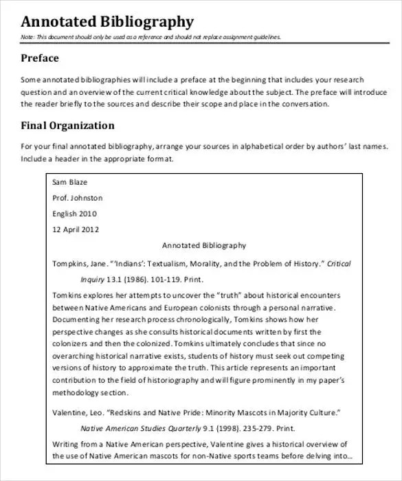 7+ Annotated Bibliography Templates \u2013 Free Word  PDF Format! Free