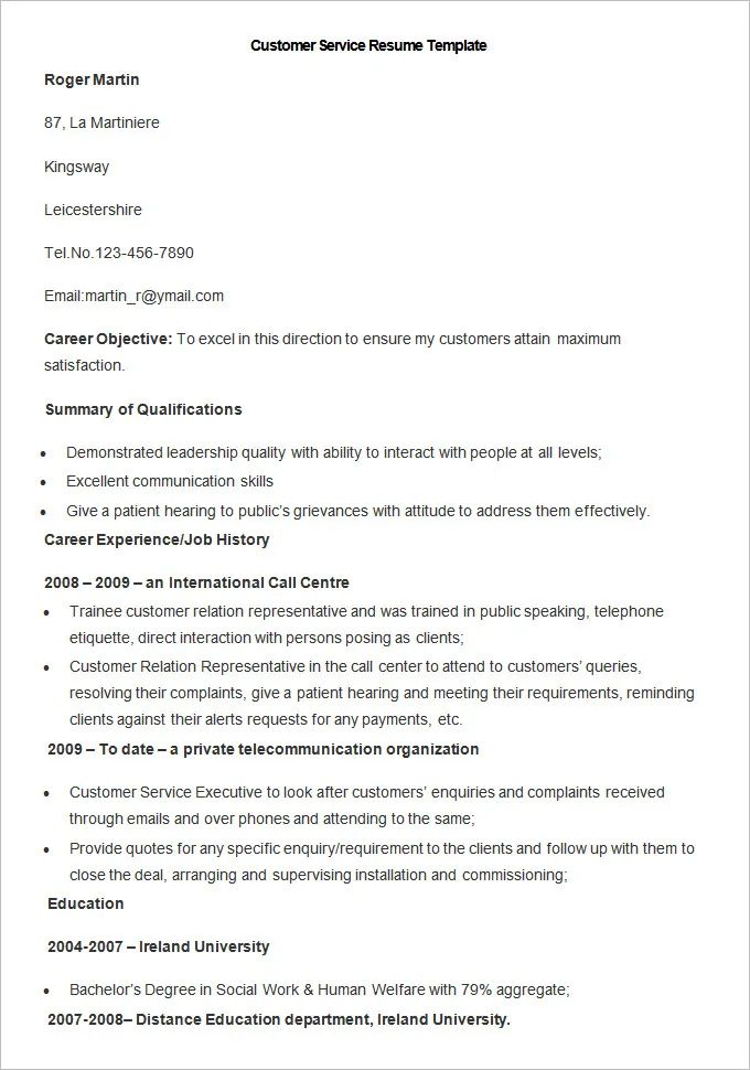 customer service manager resume templates