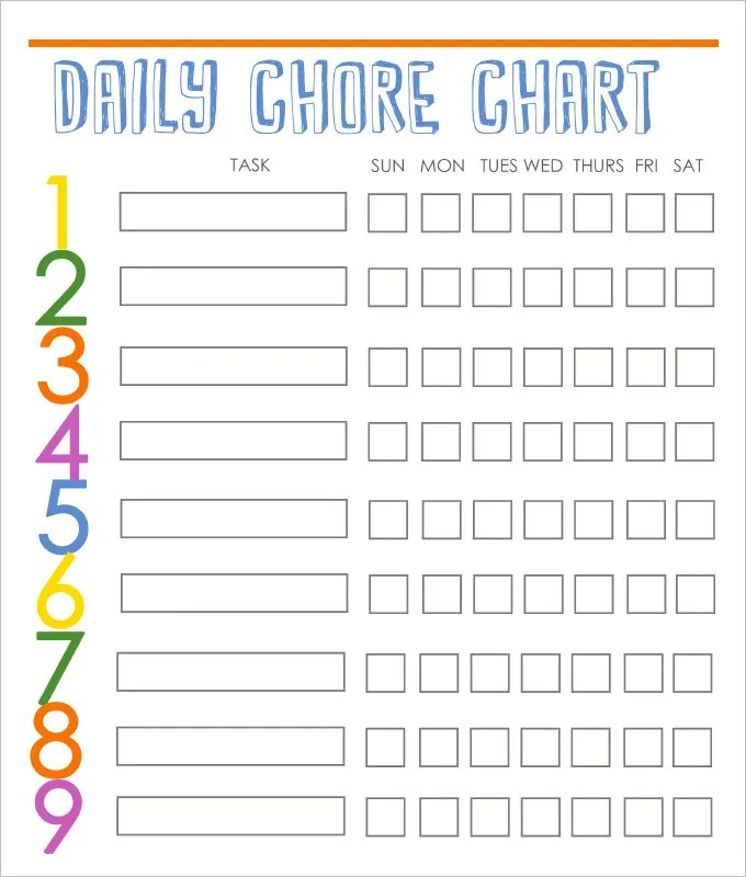 10+ Family Chore Chart Templates - PDF, DOC, Excel Free  Premium