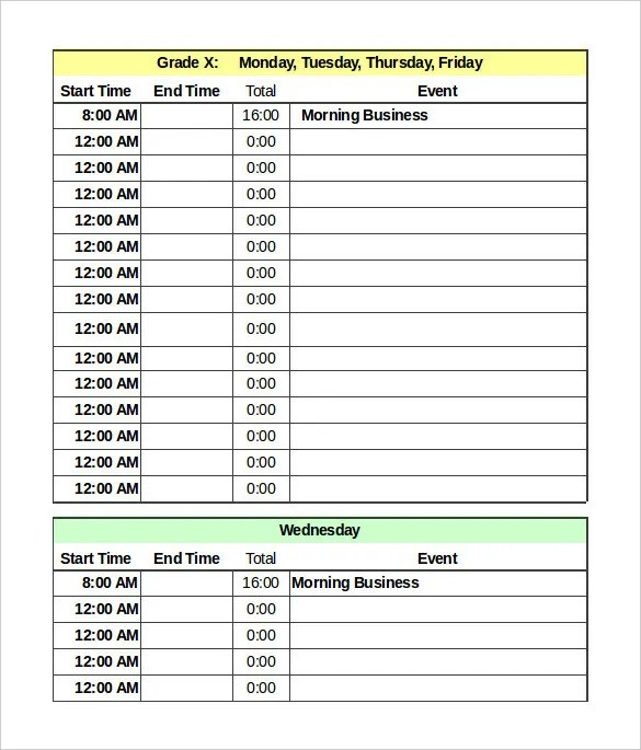 Hourly Schedule Template Word