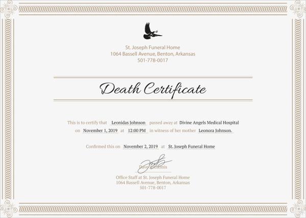 13+ Sample Death Certificate Templates - PDF, DOC Free  Premium