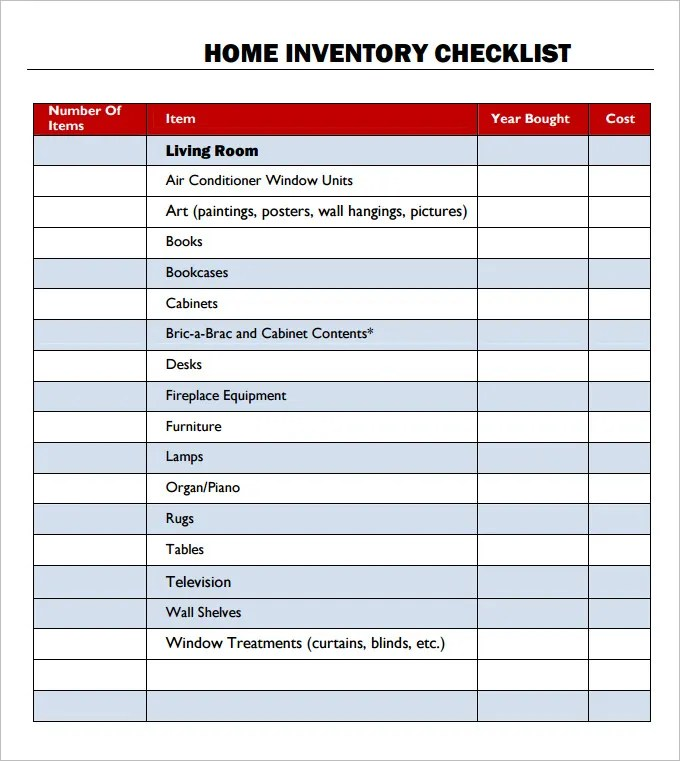 Inventory Checklist Template - 24+ Free Word, PDF Documents Download