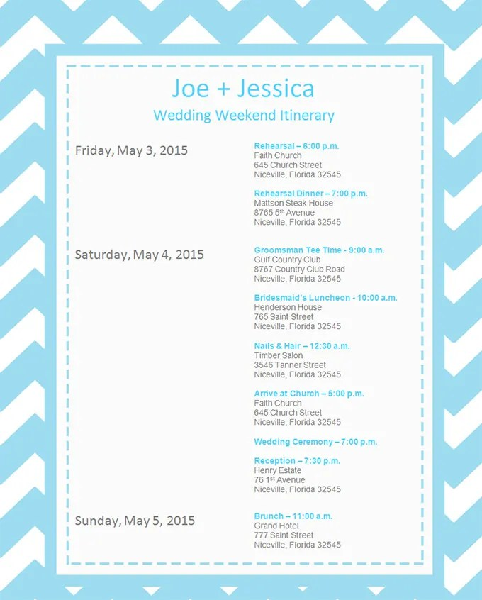 Event Itinerary Template - 5 Free Word Documents Download Free