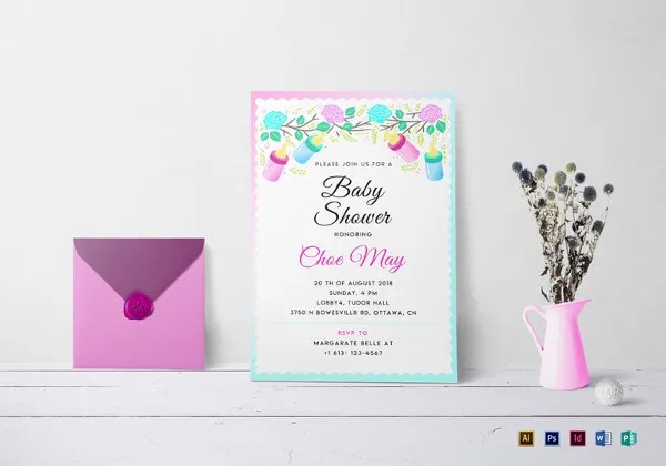 32+ Baby Shower Card Designs  Templates - Word, PDF, PSD, EPS - Editable Baby Shower Invitations