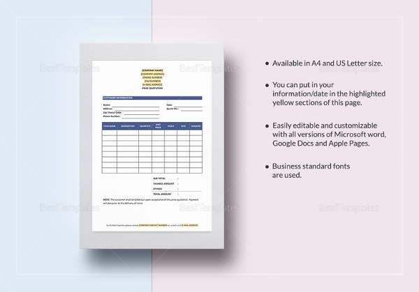 20+ MS Word 2010 Format Quotation Templates Free  Premium Templates