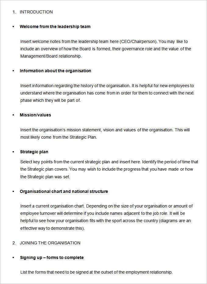 35+ Employee Handbook  Manual Templates HR Templates Free - sample employee manual template