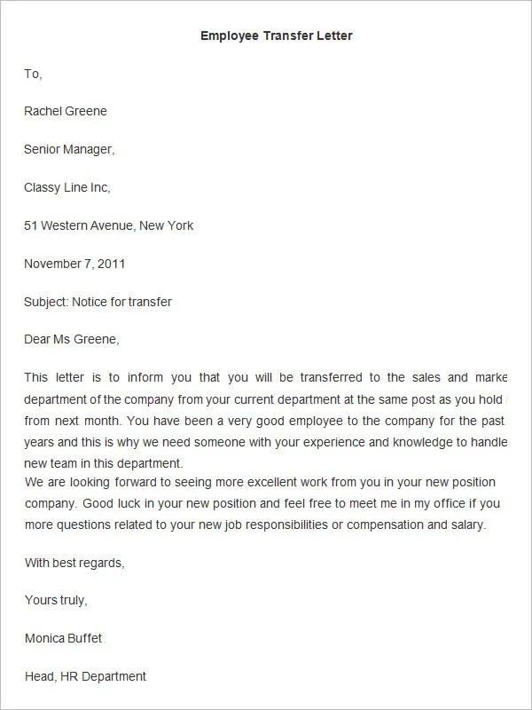 Job Transfer Request Letter Example Relocation  Hr Recruitment