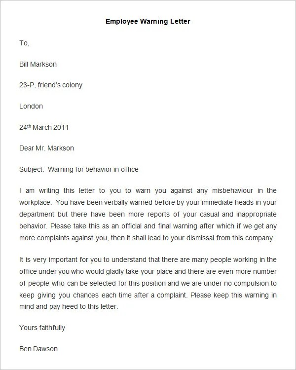 Sample Employee Counseling Memo | Free Cover Letter Templates for ...