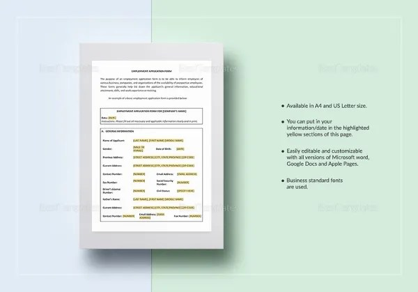 Employment Application Templates \u2013 10+ Free Word, PDF Documents