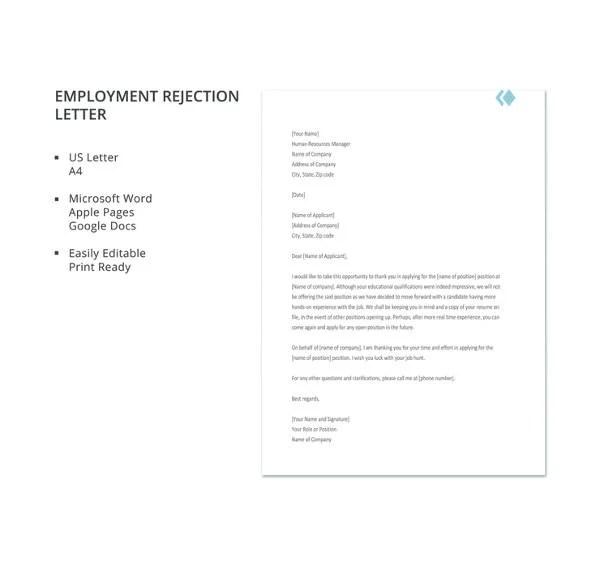 27+ Rejection Letters Template HR Templates Free  Premium - Employment Rejection Letter