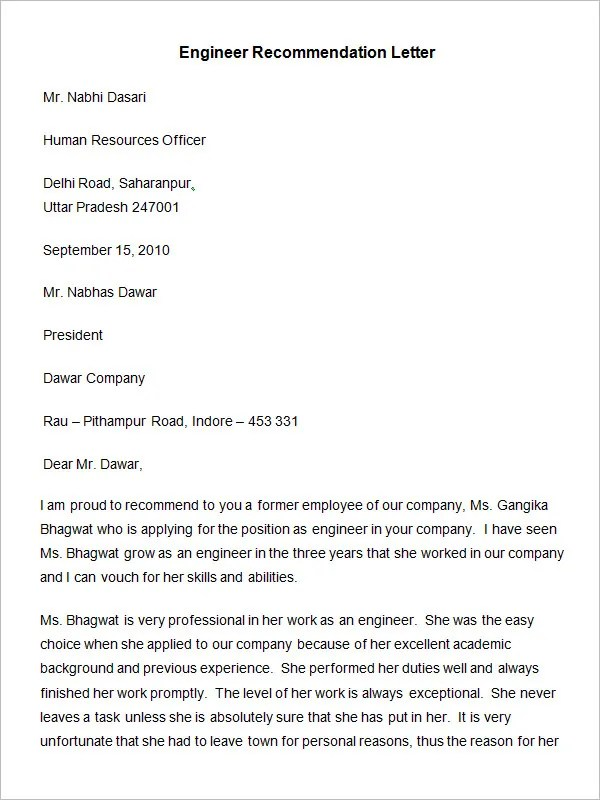 20+ Employee Recommendation Letter Templates HR Template Free - professional letters of recommendation
