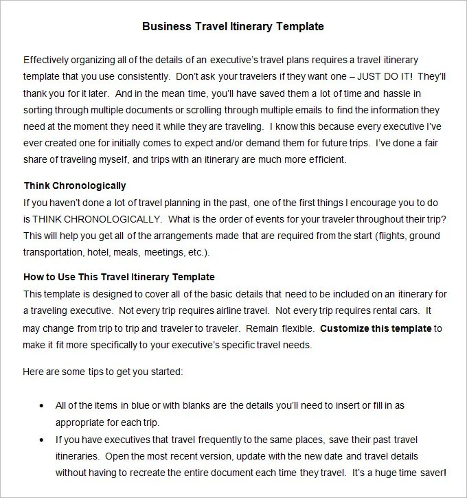Business Travel Itinerary Template - 8 Free Word, Excel, PDF - business itinerary template