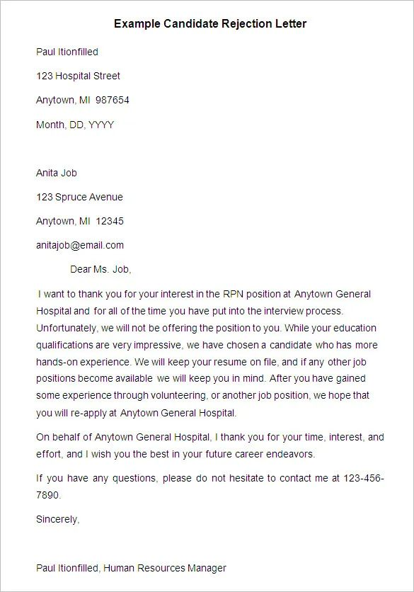 resume rejection email template