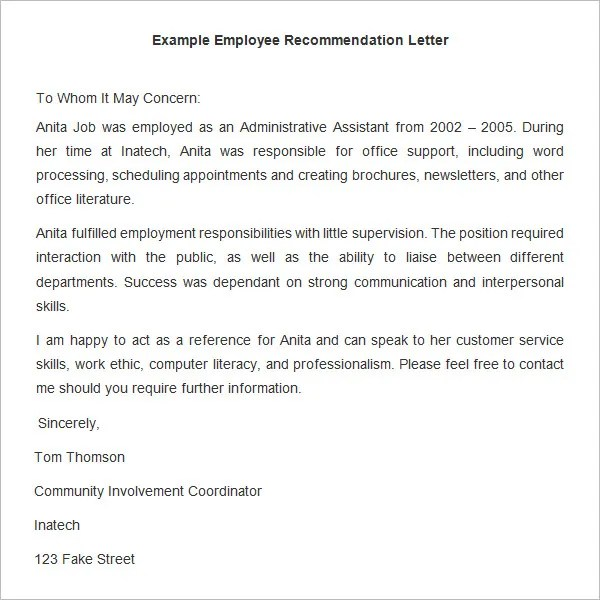 18+ Employee Recommendation Letters - PDF, DOC Free  Premium - example recommendation letter for employee
