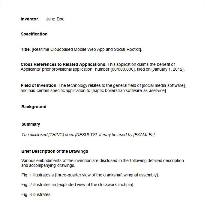 Patent Application Template \u2013 12+ Free Word, PDF Documents Download - provisional patent application example