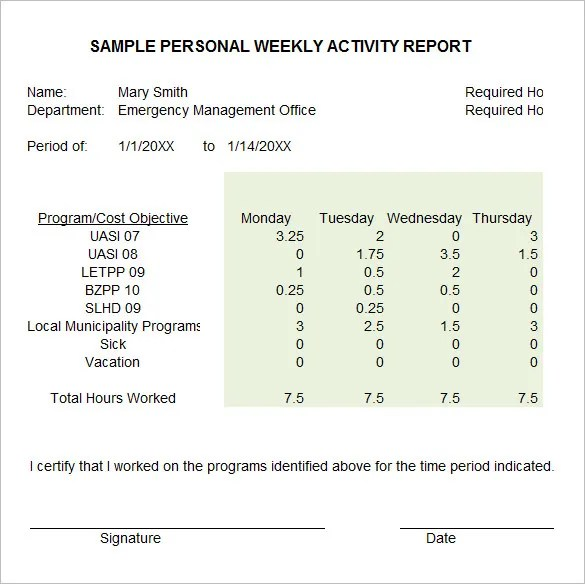 33+ Weekly Activity Report Templates - PDF, DOC Free  Premium