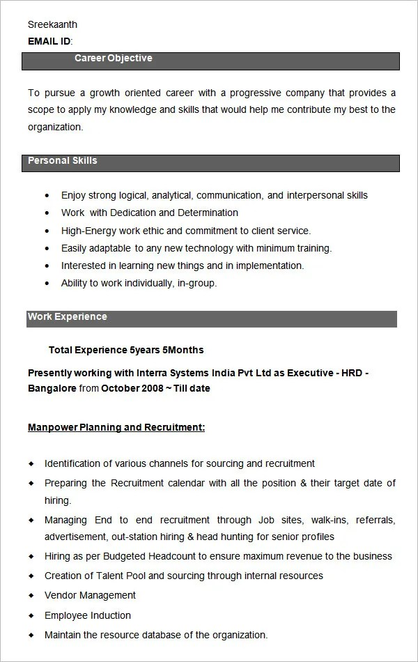21+ HR Resume Templates - DOC Free  Premium Templates - sourcinge analyst sample resume