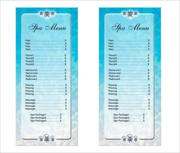spa menu templates free - Selol-ink