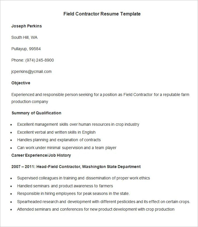 contractor resume template the-links - contractor resume