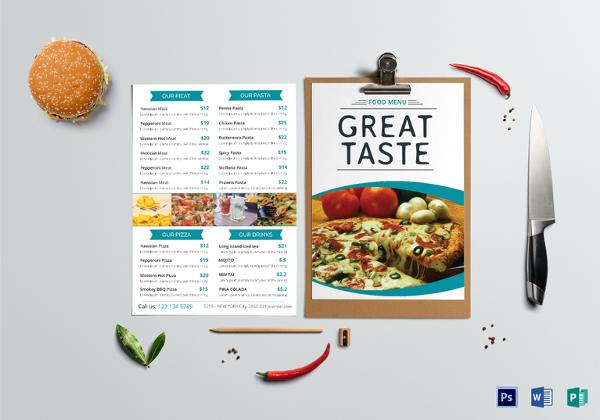 Food Menu Template - 36+ Free Word, PDF, PSD, EPS, InDesign Format - food menu templates free