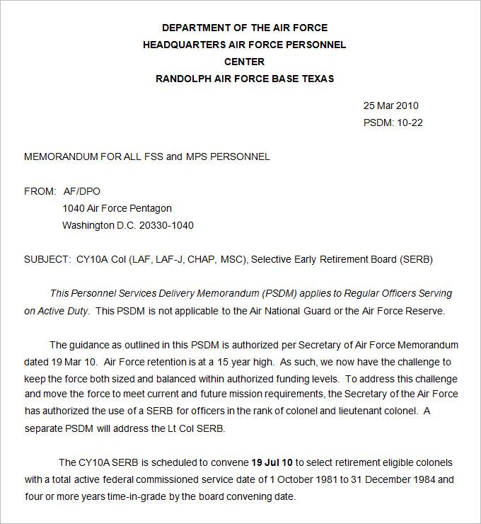 Army Memorandum Template - 4+ Free Word, PDF Documents Download